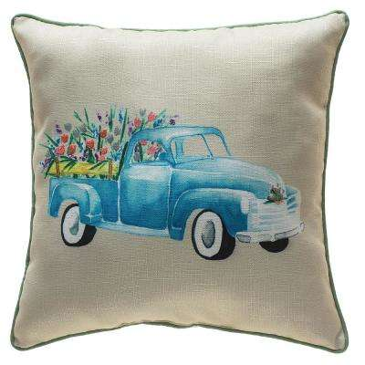 18 in. Easter Truck with Flowers Pillow