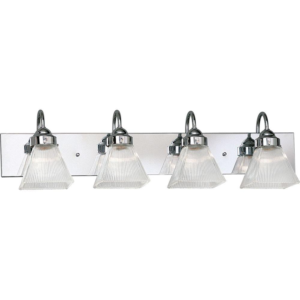 Progress Lighting Prismatic Glass Collection Chrome 4-light Vanity Fixture-DISCONTINUED