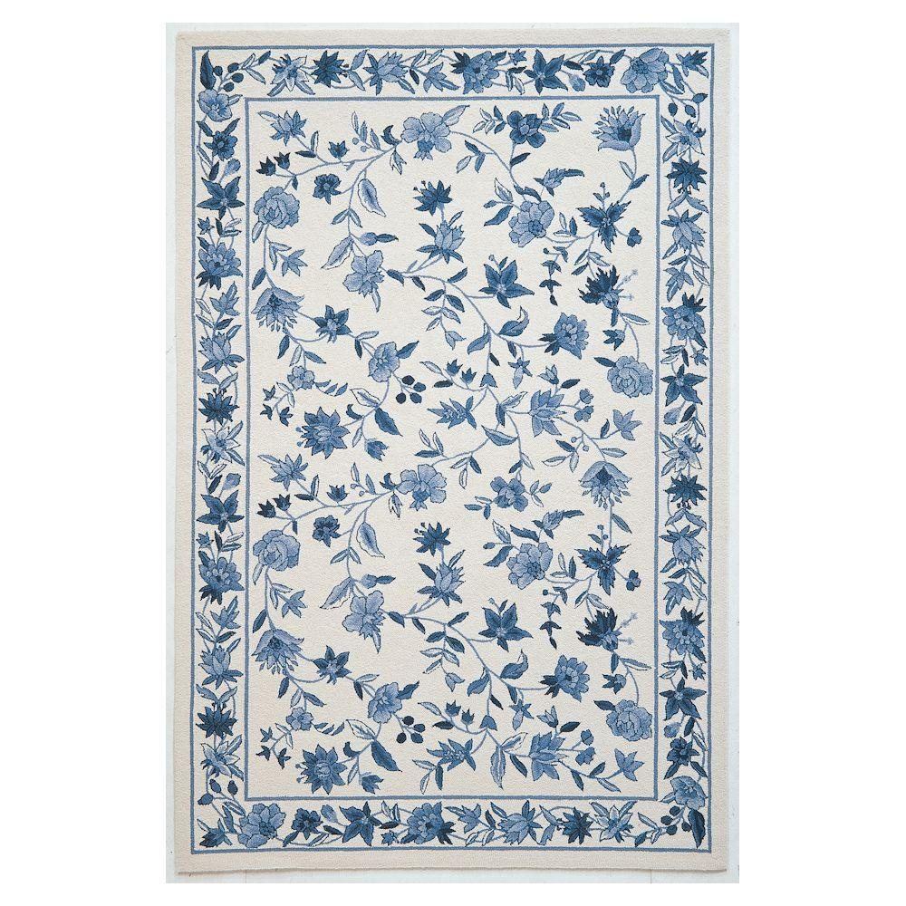 Kas Rugs Wedgewood Floral Ivory/Blue 2 ft. 6 in. x 4 ft. 2 in. Area Rug