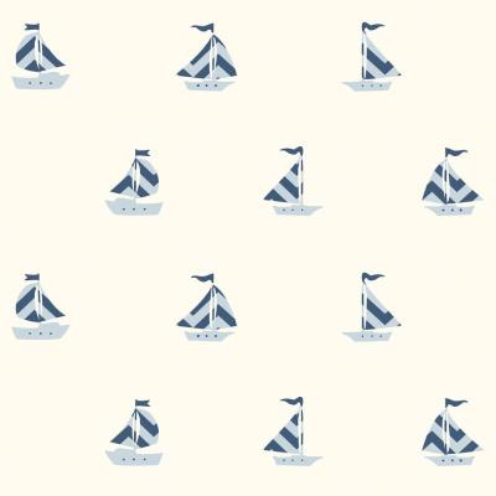 Pearl Off-White Boat Wallpaper