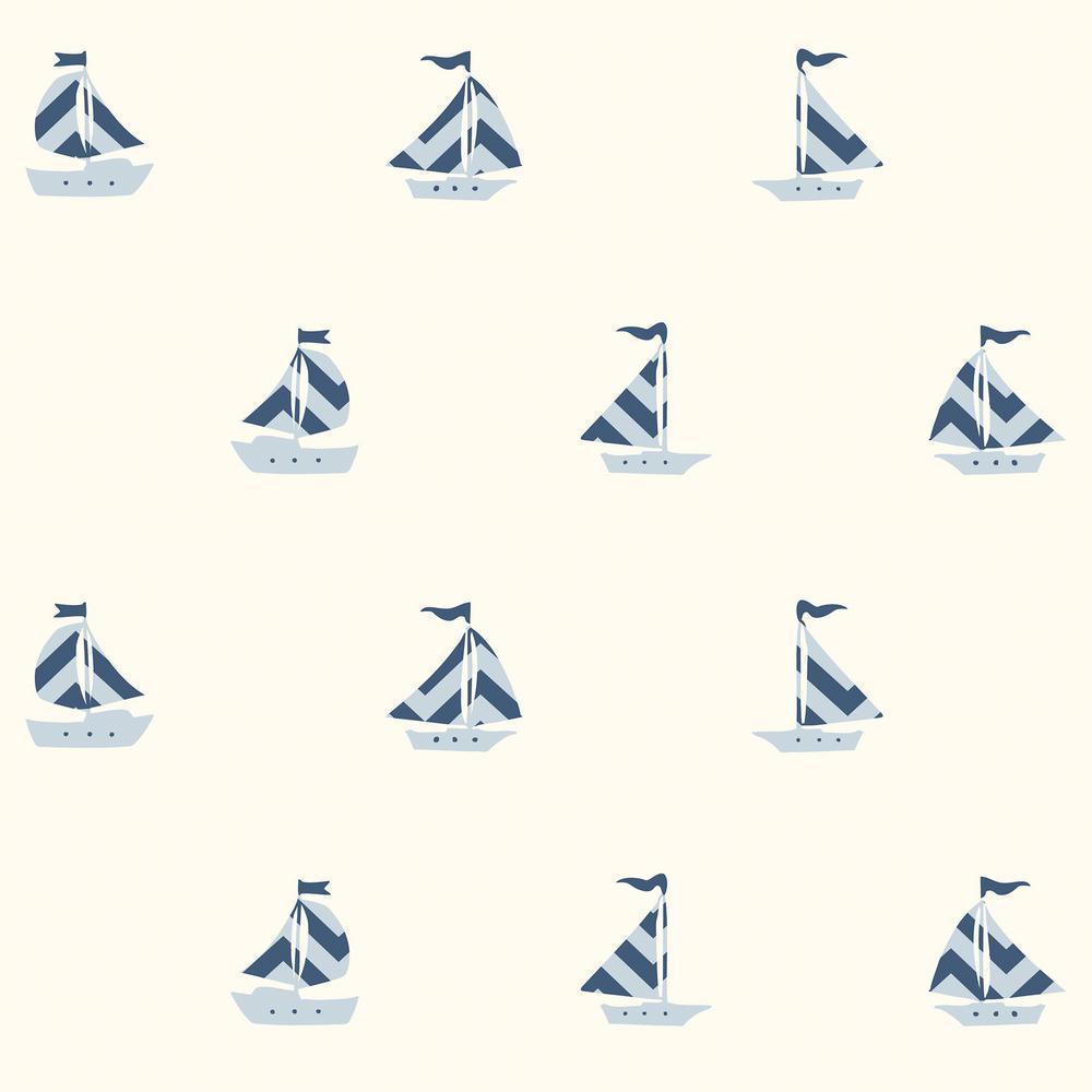 Pearl Off-White Boat Wallpaper Sample