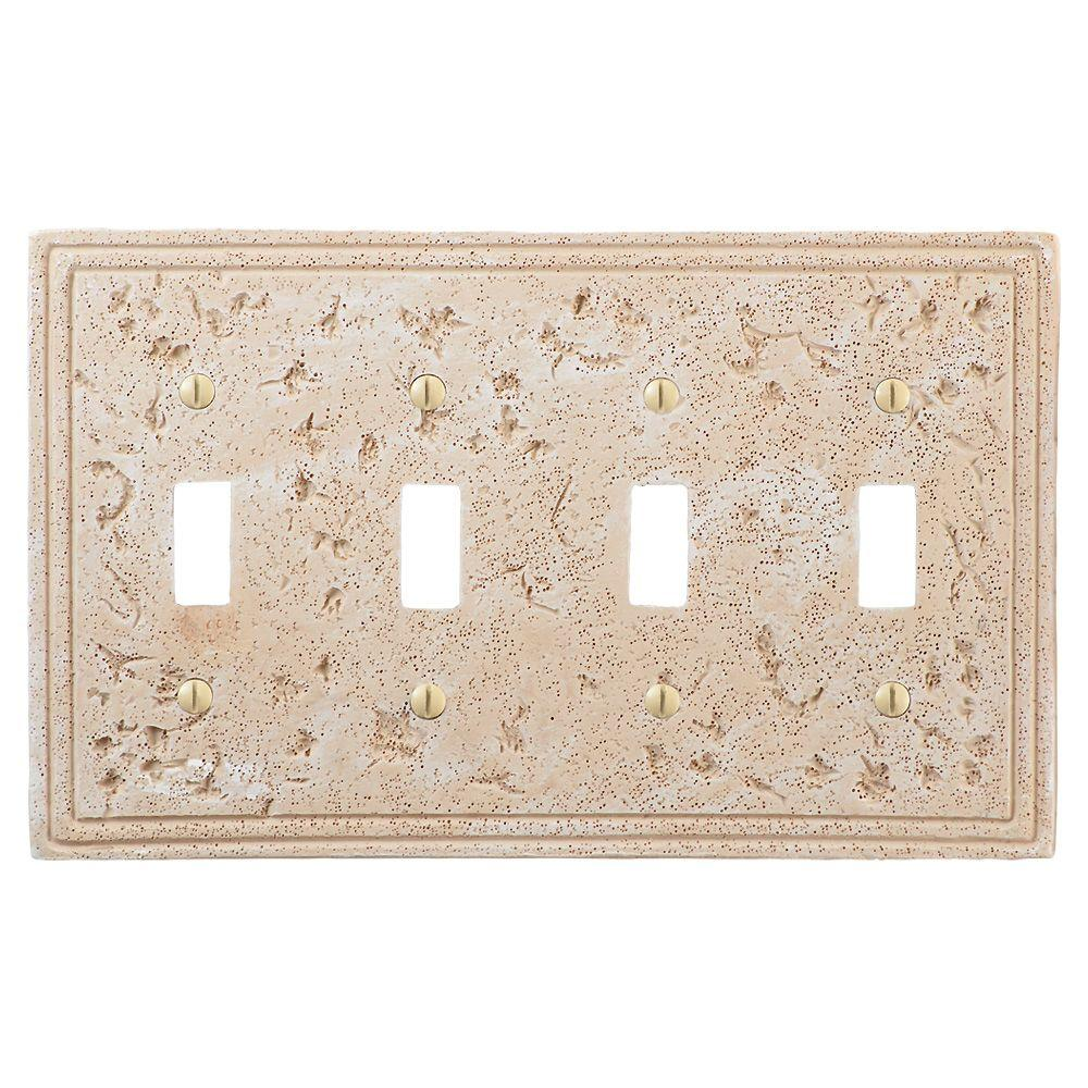 Amerelle Amerelle Faux Stone 4-Toggle Wall Plate, Almond, Brown
