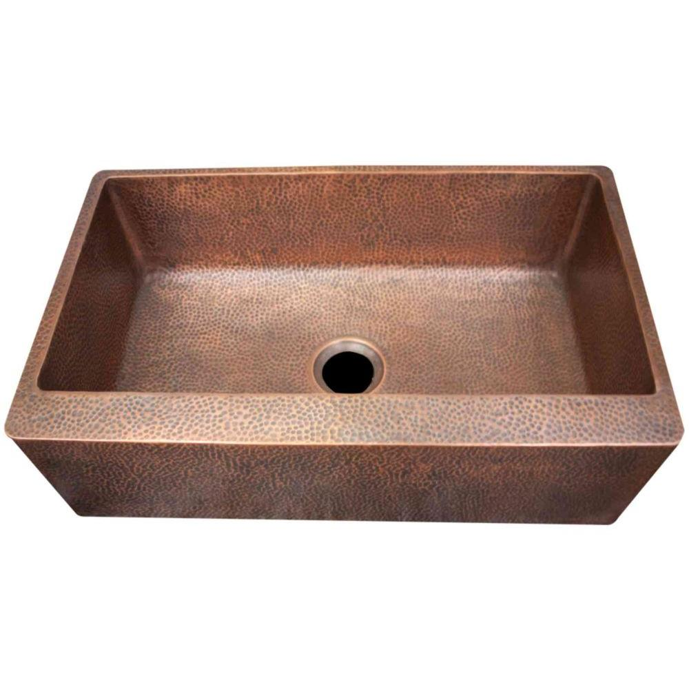 Imperial Farmhouse Apron Front Hammered Copper 33 in. Single Basin Kitchen Sink