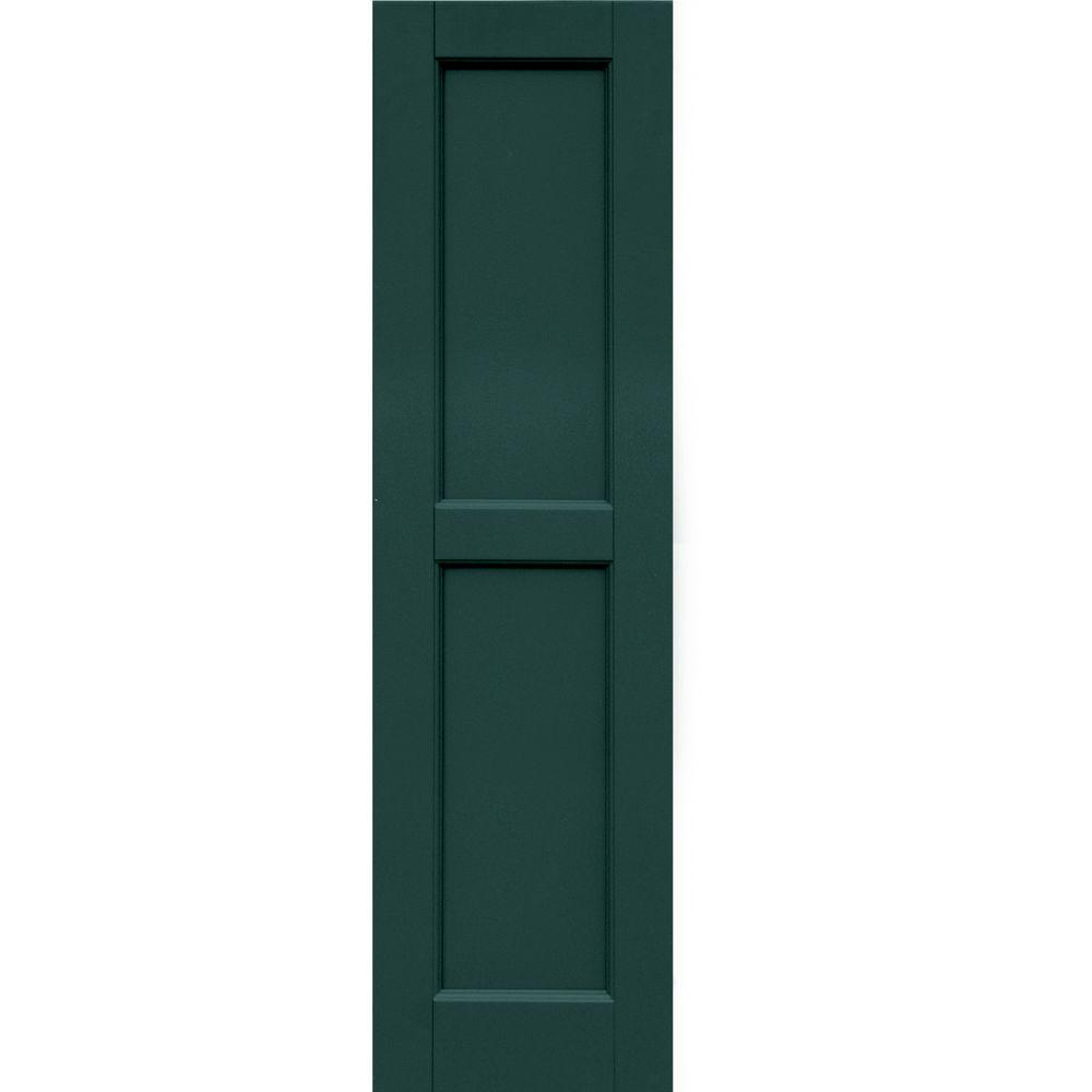 Winworks Wood Composite 12 in. x 44 in. Contemporary Flat Panel Shutters Pair #633 Forest Green