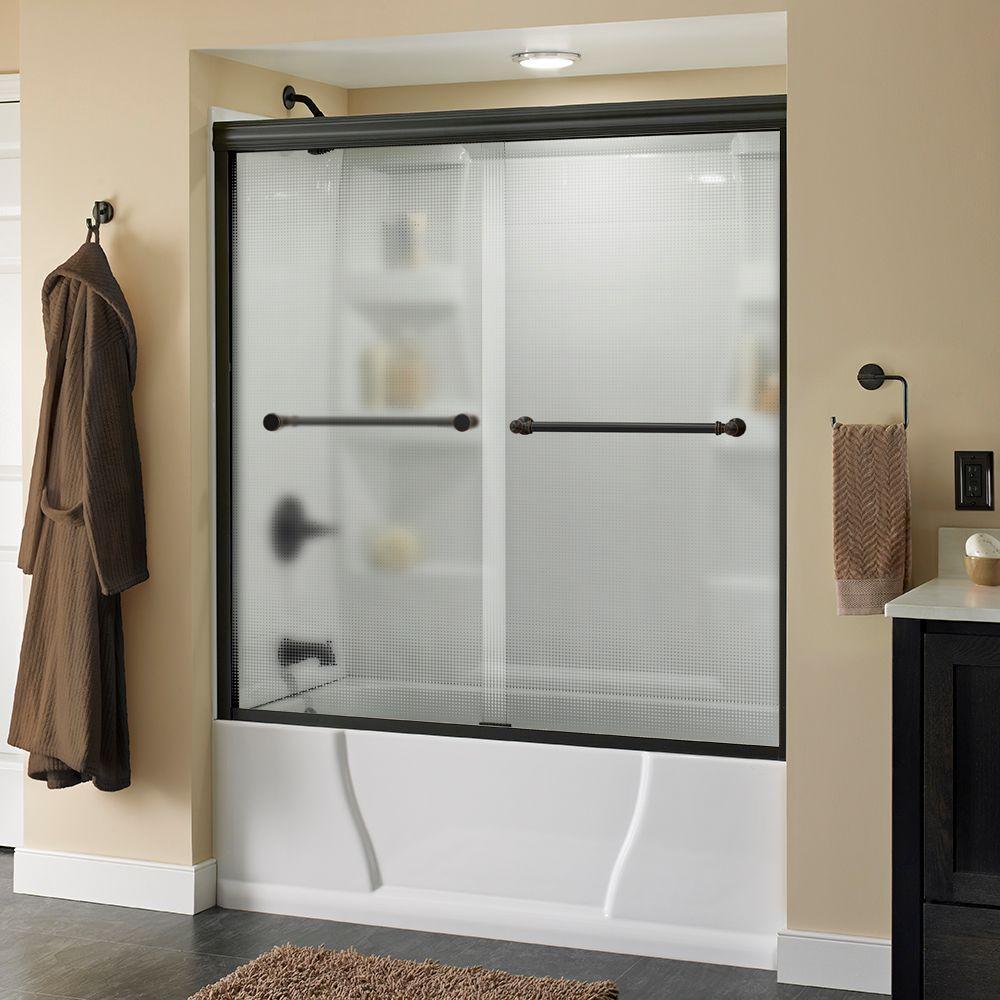 Silverton 60 in. x 58-1/8 in. Semi-Frameless Sliding Bathtub Door in Bronze with Droplet Glass