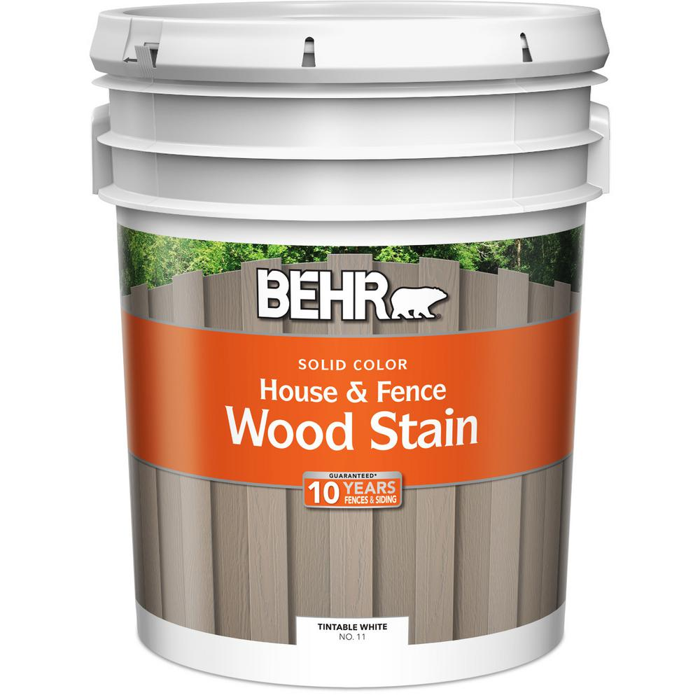 BEHR 5 gal. White Solid Color House and Fence Wood Stain