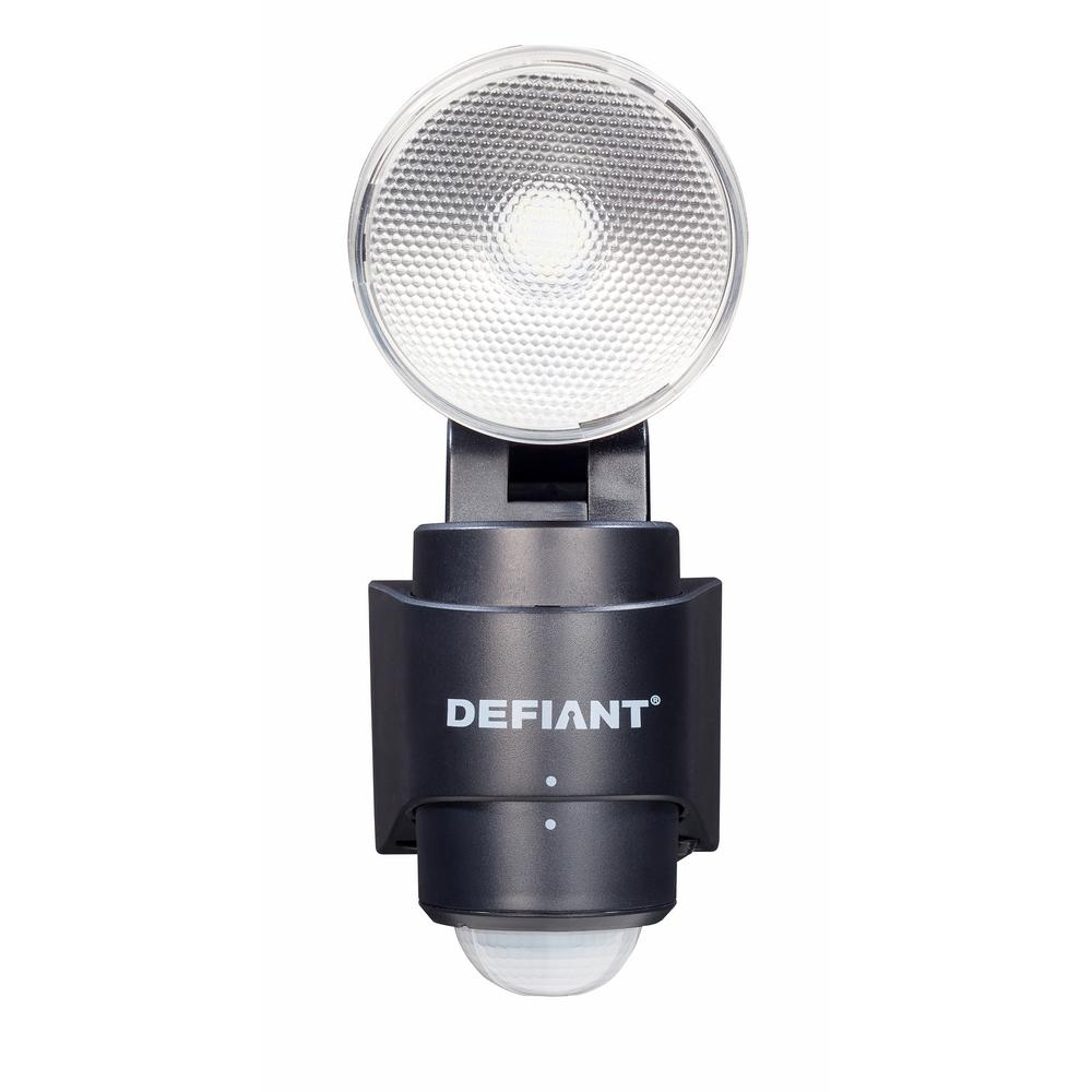Defiant 180 Degree 1-Head Black LED Motion Sensing Battery Power Outdoor Flood Light  sc 1 st  Home Depot & Defiant 180 Degree 1-Head Black LED Motion Sensing Battery Power ...