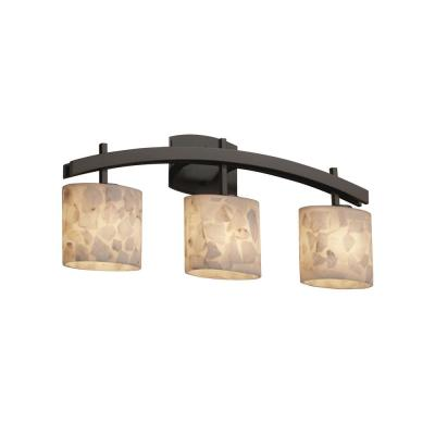 Alabaster Rocks Archway 3-Light Dark Bronze Bath Light with Oval Alabaster Rocks Shade