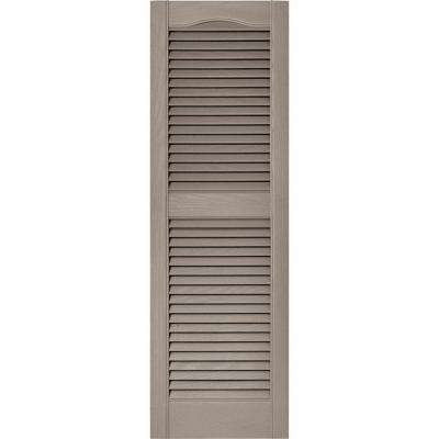 15 in. x 48 in. Louvered Vinyl Exterior Shutters Pair in #008 Clay