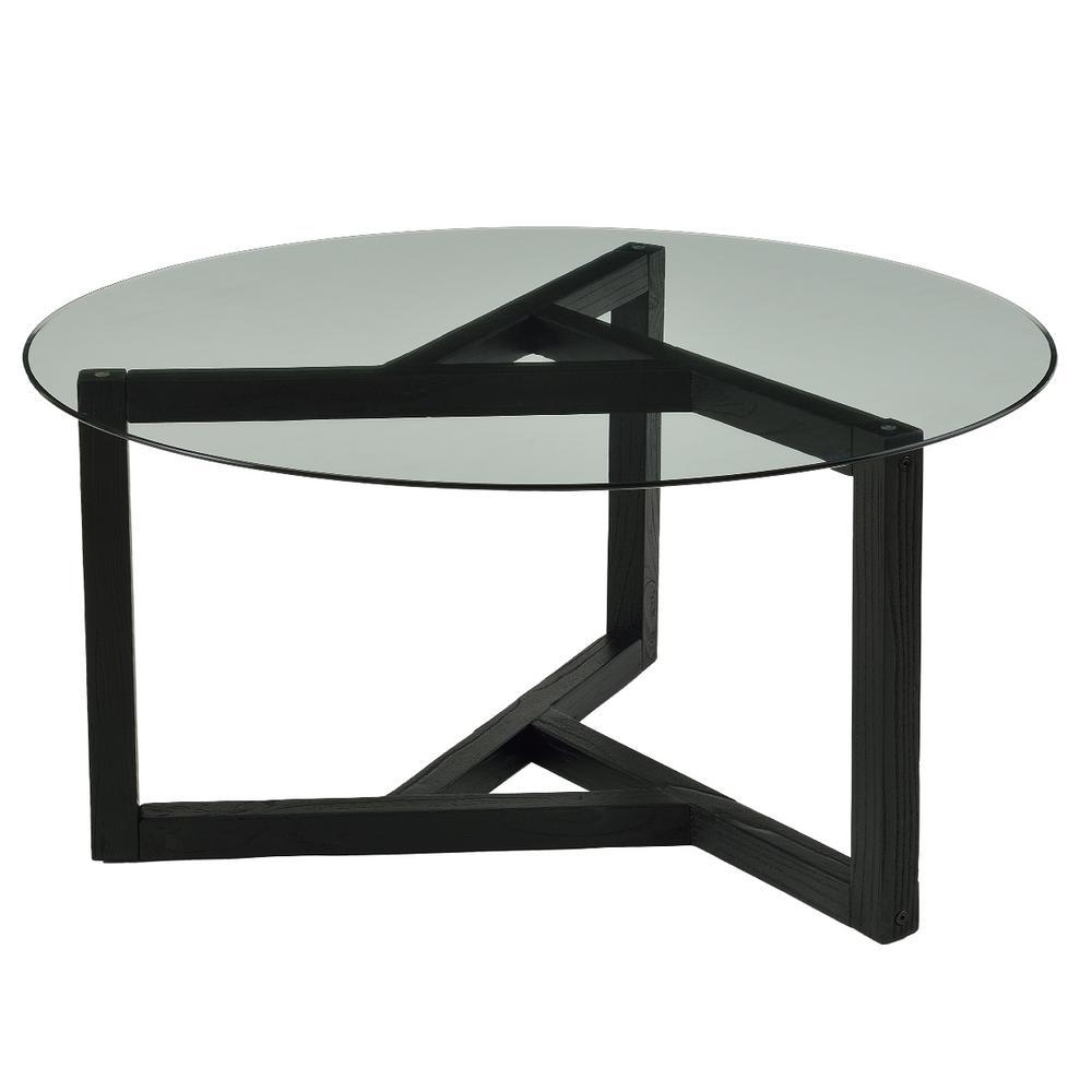 - Boyel Living Espresso Modern Cocktail Round Glass Coffee Table