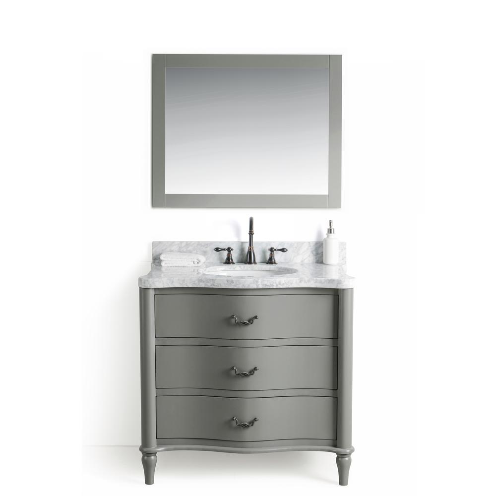 Legion Furniture 36 In W X 22 D Vanity Gray With Cararra