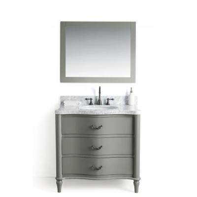 36 In. W X 22 In. D Vanity In Gray With Cararra Marble Vanity