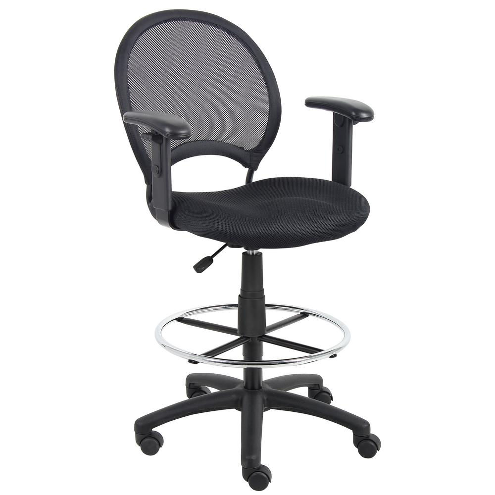 Merveilleux Boss Black Mesh Drafting Stool With Adjustable Arms