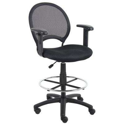 Black Mesh Drafting Stool with Adjustable Arms