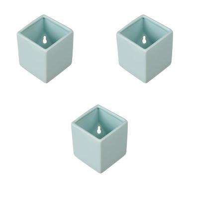 Cube 3-1/2 in. x 4 in. Mint Ceramic Wall Planter (3-Piece)