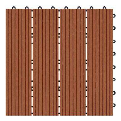 Terrace Clay 4/5 in. Thickness x 12 in. Width x 12 in. Length Deck Tile Composite Bamboo Flooring (11 sq. ft. per Box)