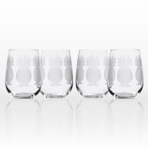 Rolf Glass Pineapple 17 oz. Clear Stemless Wine Glass (Set of 4)