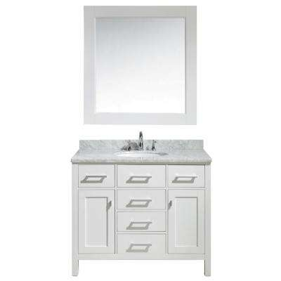 London 42 in. W x 22 in. D x 35.5 in. H Vanity in White Marble Vanity Top in Carrara White, with Basin and Mirror
