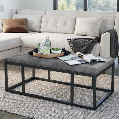 Nelson Gray Faux Leather Tuft and Black Metal Frame Entryway Bench Ottoman Style Coffee Table