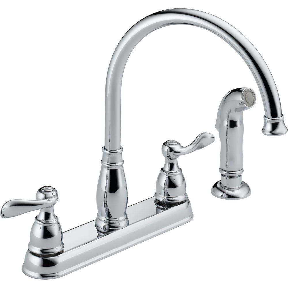 Delta Windemere 2 Handle Standard Kitchen Faucet With Side Sprayer In Chrome 21996lf The Home Depot