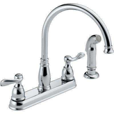 Windemere 2-Handle Standard Kitchen Faucet with Side Sprayer in Chrome