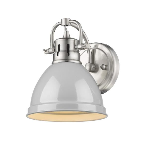 Duncan Collection Pewter 1-Light Bath Sconce Light with Gray Shade