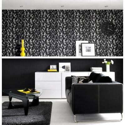 Floral Wallpaper Wallpaper Borders The Home Depot - Wallpaper for walls black and white