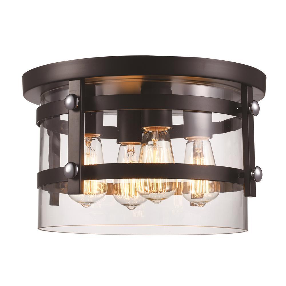 Bel Air Lighting 14 in. 4 Light Black/Polished Chrome Flush Mount