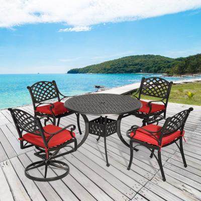 Dionysus 5-Piece Aluminum Outdoor Dining Set with Red Cushion