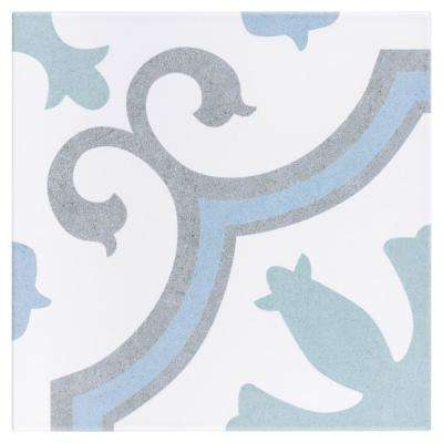 Lacour Aqua Encaustic 9-3/4 in. x 9-3/4 in. Porcelain Floor and Wall Tile (10.76 sq. ft. / case)