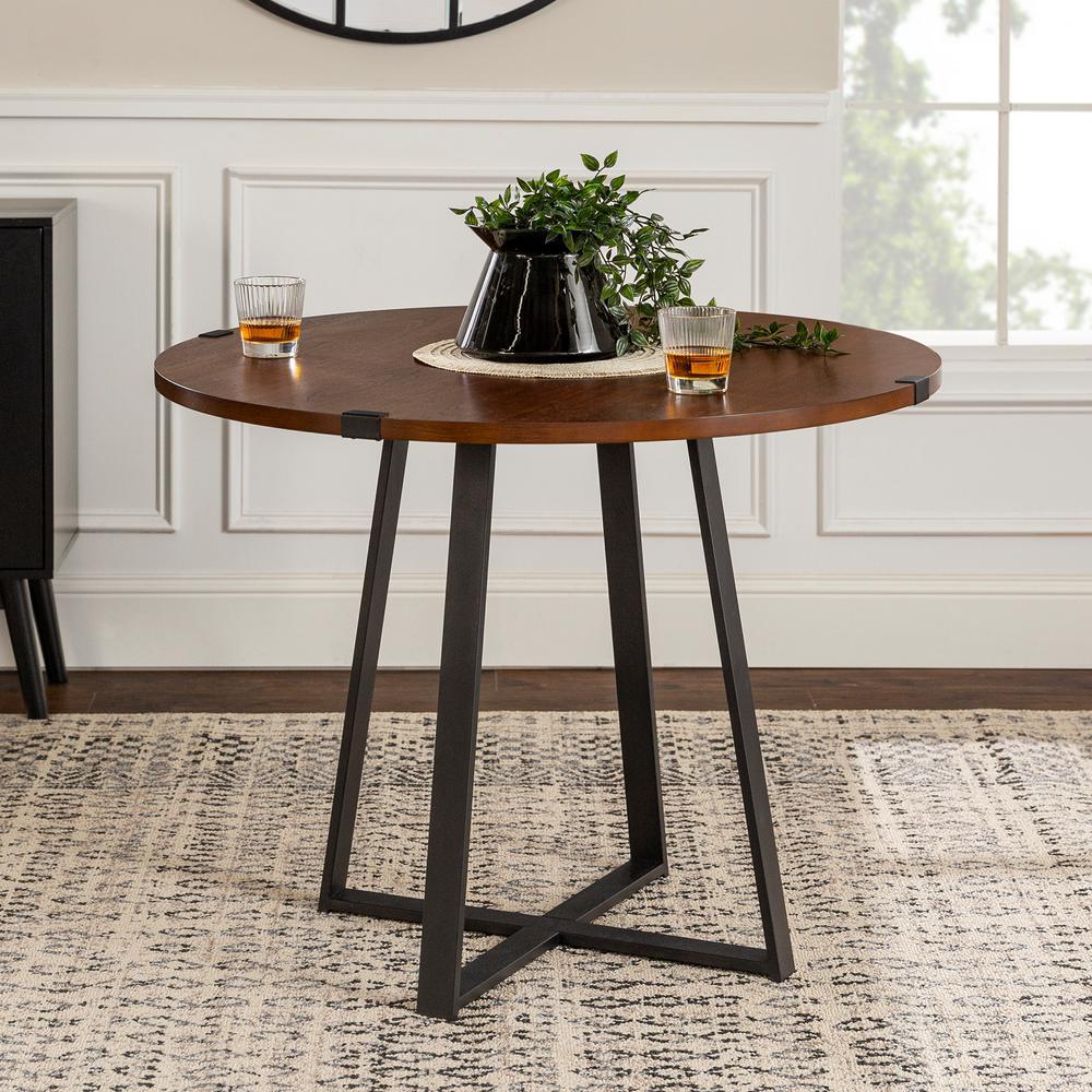 40 in. Rustic Round Dark Walnut / Black Dining Table