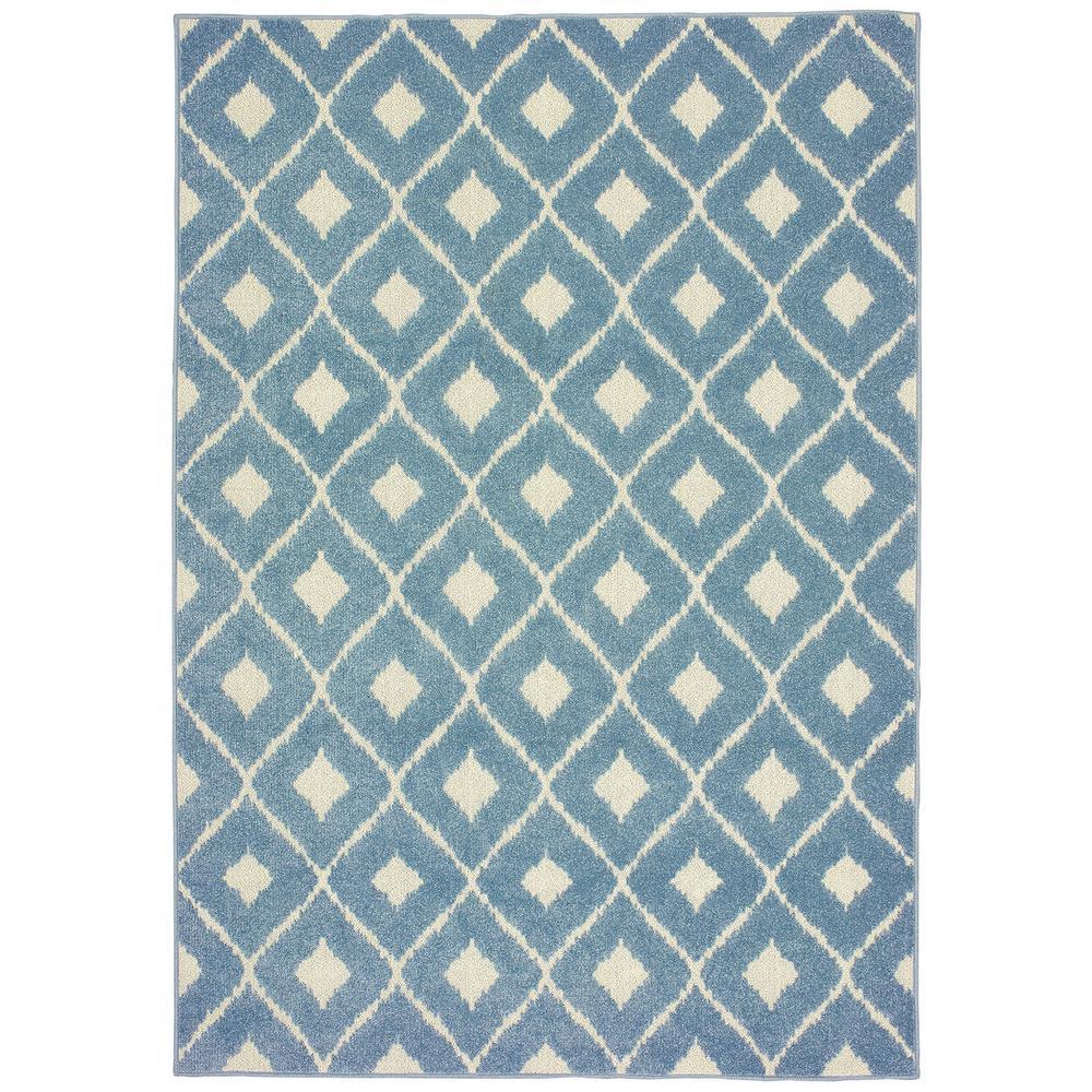 Katalina Diamond Blue-Ivory 5 ft. 3 in. x 7 ft. 6 in. Indoor/Outdoor Area Rug