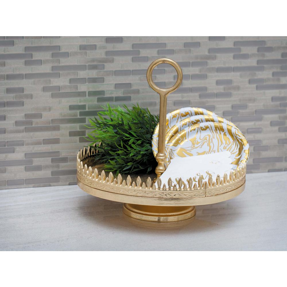 13 in. x 12 in. Spiked Gold-Finished Aluminum Tray Stand