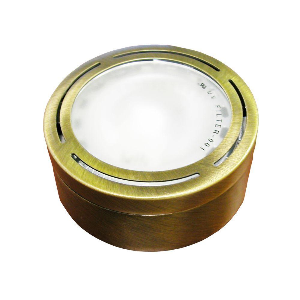 20-Watt Xenon Antique Brass Metal Puck