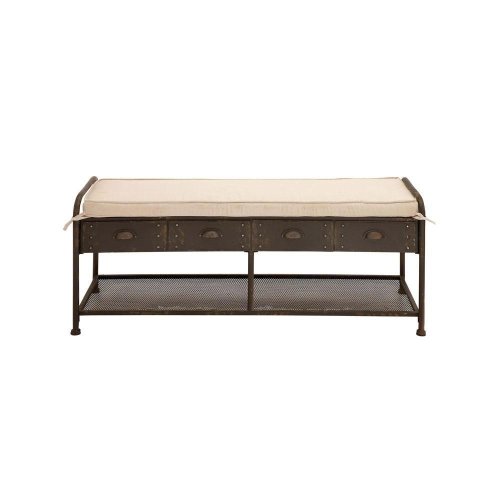 Brown Metal 4-Drawer Storage Bench with Ivory Fabric Cushioned Seat