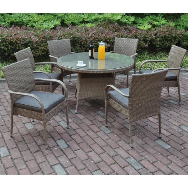 Venetian Worldwide Naro 7 Piece All Weather Wicker Circular Outdoor Dining Set With Brown Cushion Vp 211 7pcs The Home Depot