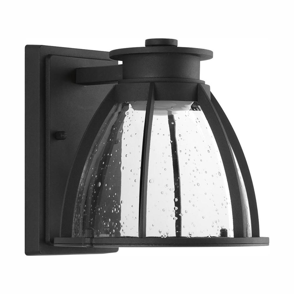 Progress Lighting Pier 33 Collection Black 8 in. Outdoor Integrated LED Wall Lantern Sconce