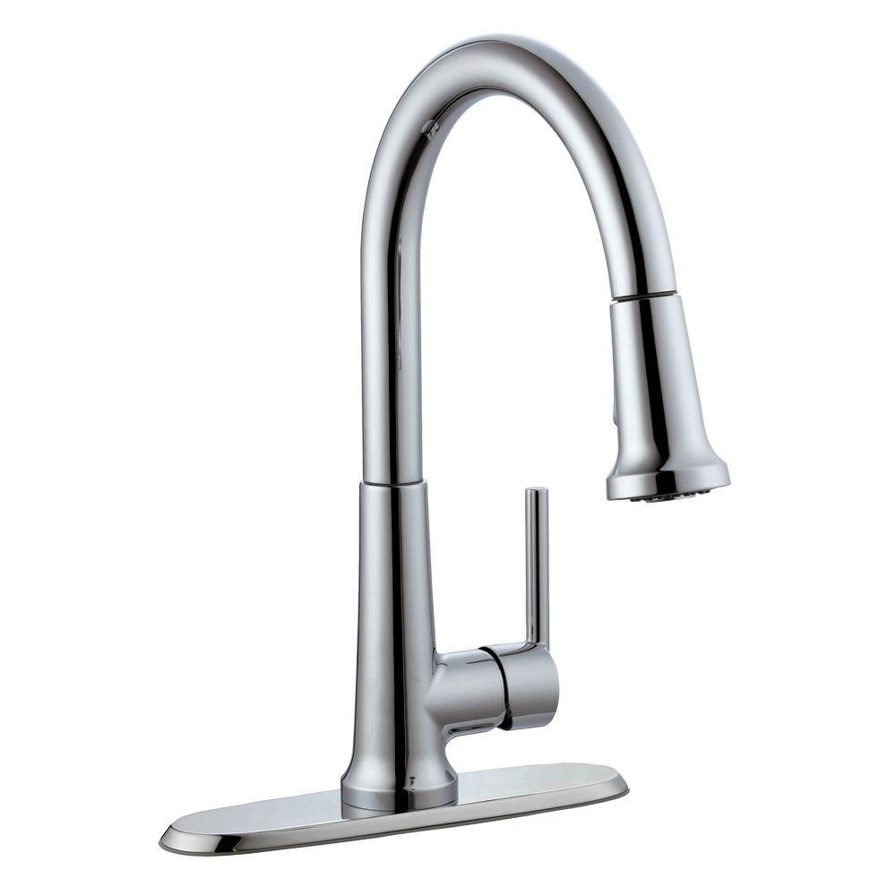 Beau Design House Geneva Single Handle Pull Down Sprayer Kitchen Faucet In  Polished Chrome 525725   The Home Depot