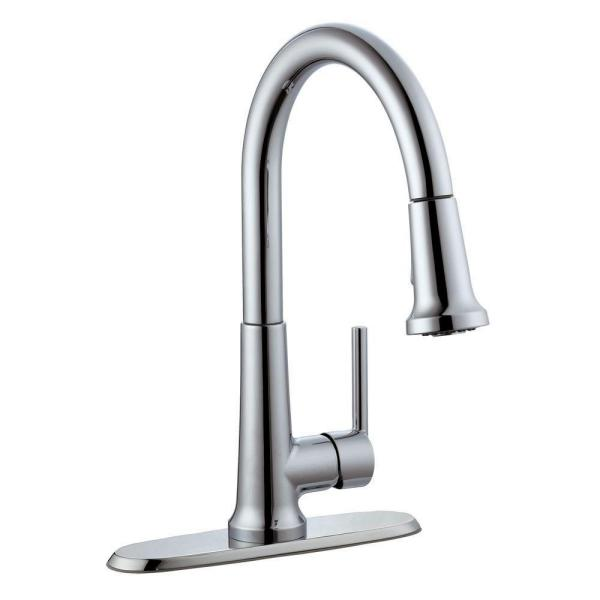 Geneva Single-Handle Pull-Down Sprayer Kitchen Faucet in Polished Chrome