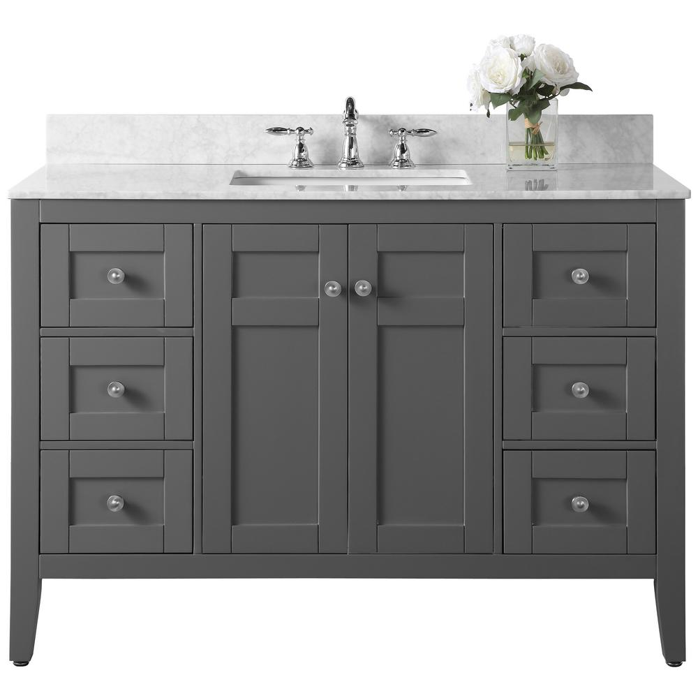 Ancerre Designs Maili 48 in. W x 22 in. D Vanity in Sapphire Gray with Marble Vanity Top in Carrara White with White Basin