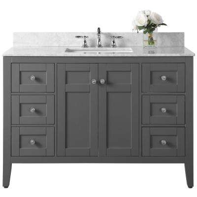 Maili 48 in. W x 22 in. D Vanity in Sapphire Gray with Marble Vanity Top in Carrara White with White Basin