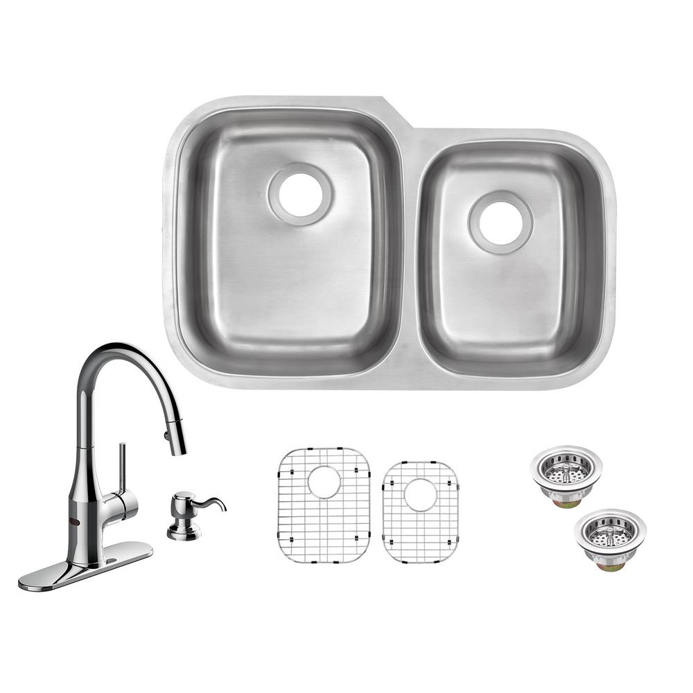 Glacier Bay All-in-One Undermount 18-Gauge Stainless Steel 32 in. 60 on large stainless sink, double bowl apron front sink, elkay undermount sink, mosaic tile sink, upc sink, low divide sink, 24 double bowl undermount sink, triple bowl kitchen sink, extra large kitchen sink, 24 kitchen sink, double kitchen sink, offset kitchen sink, stainless steel deep sink, laminate undermount sink, 60 40 stainless sink, small round prep sink, 60 40 integrated kitchen sink, best 16-gauge kitchen sink, blanco 40 60 sink,