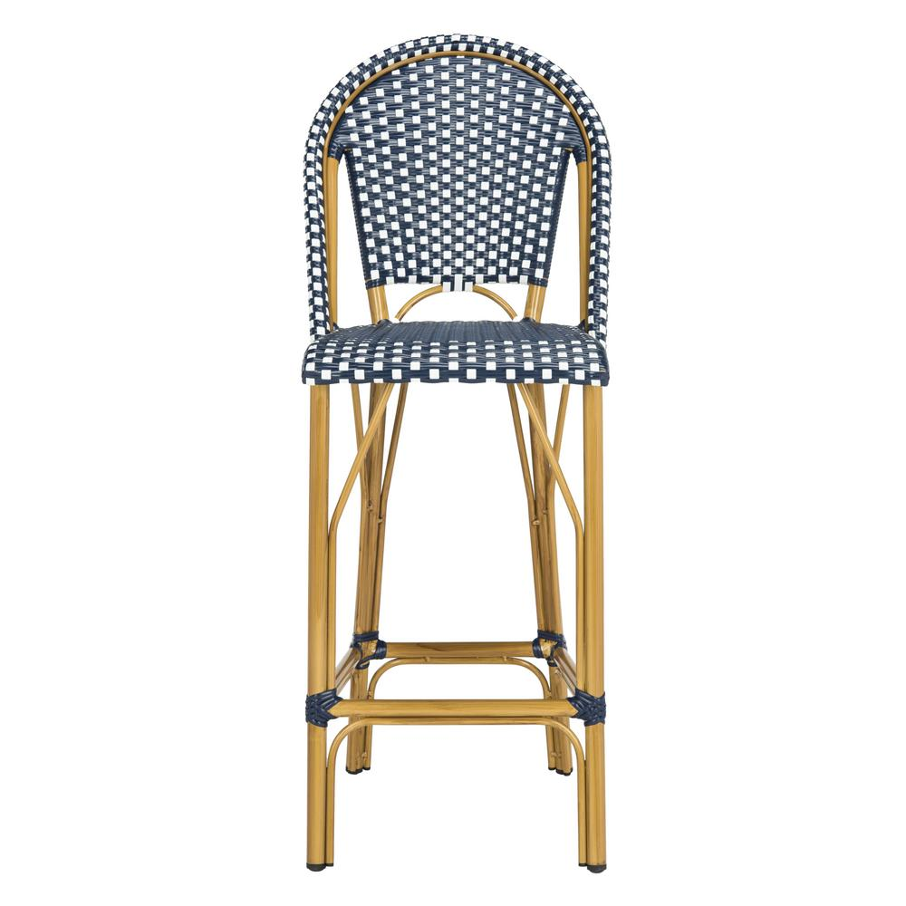 Safavieh Ford Navy And White Wicker Outdoor Bar Stool