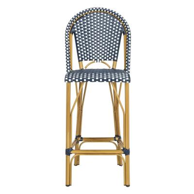 Ford Navy/White Wicker Outdoor Bar Stool