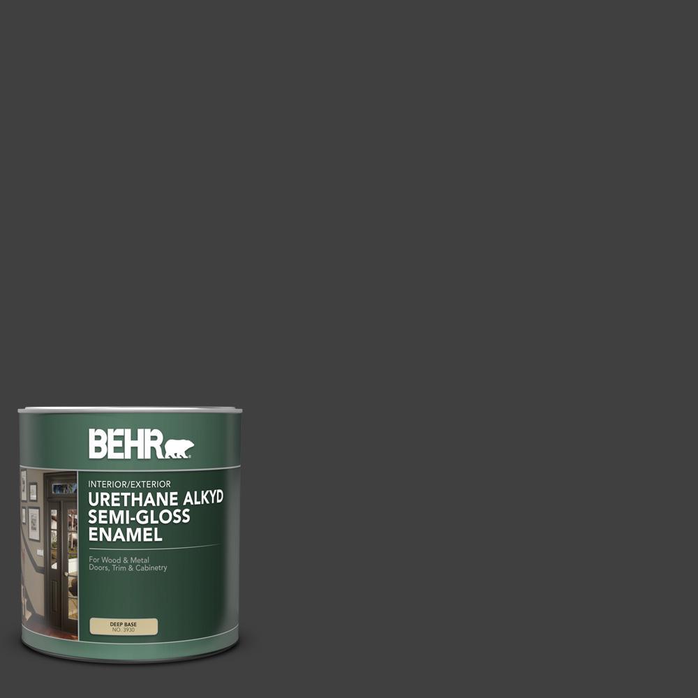BEHR 1 qt. #1350 Ultra-Pure Black Semi-Gloss Enamel Urethane Alkyd Interior/Exterior Paint