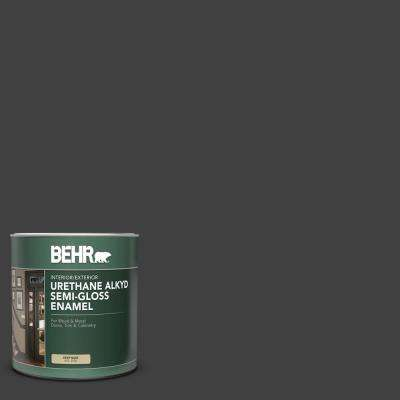1 qt. #1350 Ultra-Pure Black Semi-Gloss Enamel Urethane Alkyd Interior/Exterior Paint