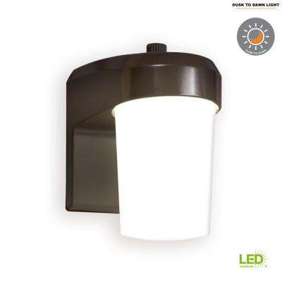 Bronze Outdoor Integrated LED Entry and Patio Light with Dusk to Dawn Photocell Sensor, 5000K Daylight