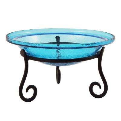 12.5 in. Dia Teal Blue Reflective Crackle Glass Birdbath Bowl with Short Stand