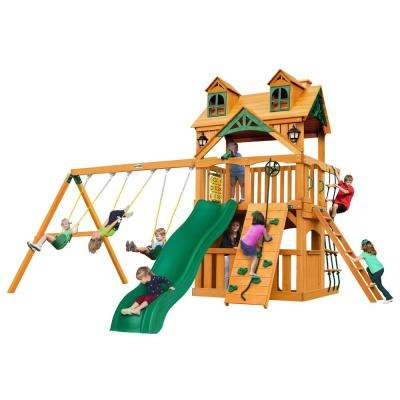 Chateau Clubhouse Wooden Swing Set with Malibu Wood Roof and Rock Wall