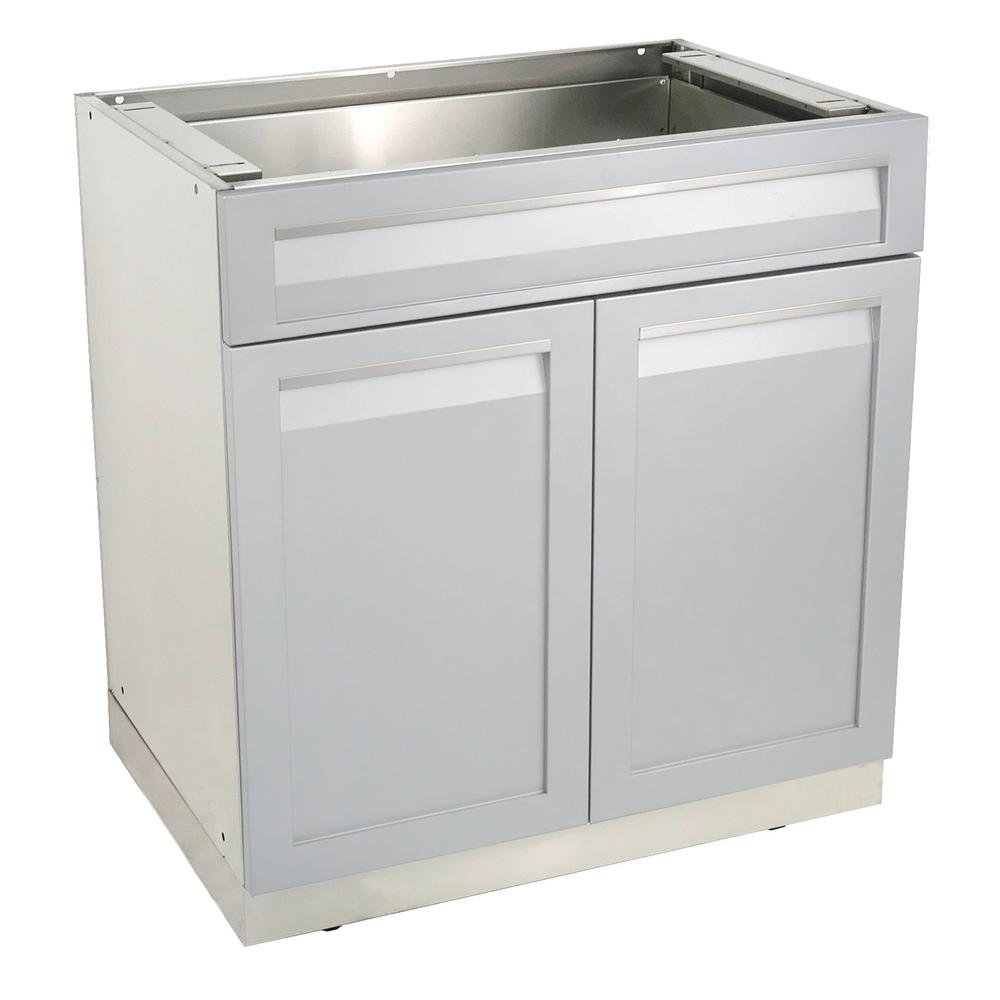 4 Life Outdoor Stainless Steel Drawer Plus 32x35x22.5 in. Outdoor Kitchen  Cabinet Base with 2 Powder Coated Doors and Drawers in Gray